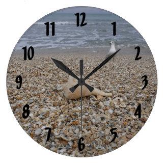 Grande Horloge Ronde Coquillages et mouettes