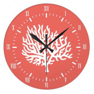 Grande Horloge Ronde Corail de mer blanche et rose côtiers de corail