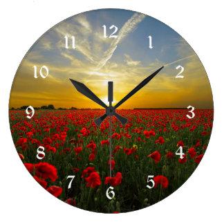 Grande Horloge Ronde Coucher du soleil rouge de pavot