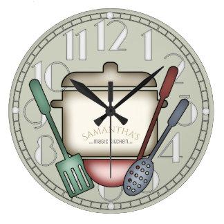 Grande Horloge Ronde Couleur mignonne de coutume d'ustensiles de pot et