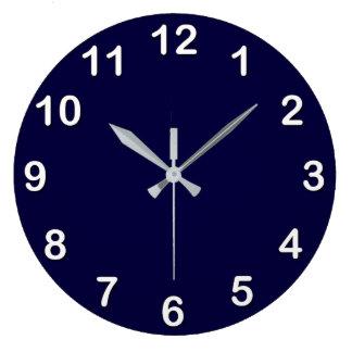 Grande Horloge Ronde Couleur solide : Bleu marine