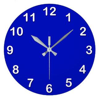 Grande Horloge Ronde Couleur solide : Bleu royal