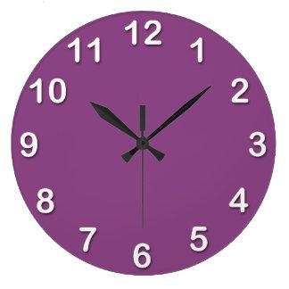 Grande Horloge Ronde Couleur solide : Pourpre de prune