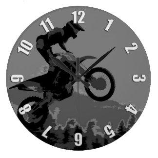 """Grande Horloge Ronde """"Coureur de motocross de l'itinéraire pittoresque"""""""