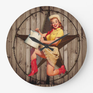 Grande Horloge Ronde cow-girl rustique de pays occidental d'étoile de