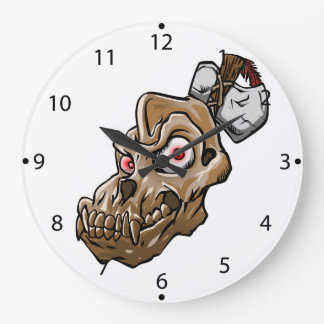 Grande Horloge Ronde Crâne de singe de bande dessinée
