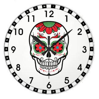Grande Horloge Ronde Crâne floral rouge drôle sur le blanc