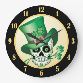 Grande Horloge Ronde Crâne irlandais de sucre