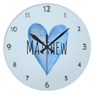 Grande Horloge Ronde Crèche bleue de nom d'amour de Little Boy de