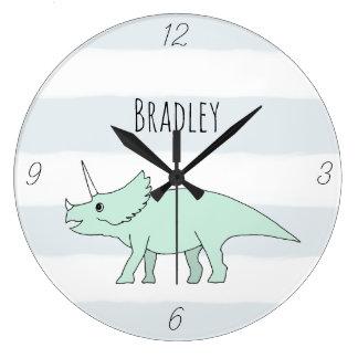 Grande Horloge Ronde Crèche de nom de dinosaure de Triceratops de