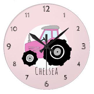 Grande Horloge Ronde Crèche de voiture de tracteur de ferme de rose du