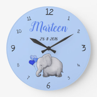Grande Horloge Ronde Crèche mignonne personnalisée d'éléphant de bleus