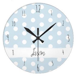 Grande Horloge Ronde Crèche tachetée bleue de motif de point de polka