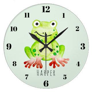 Grande Horloge Ronde Crèche unisexe mignonne de grenouille verte de