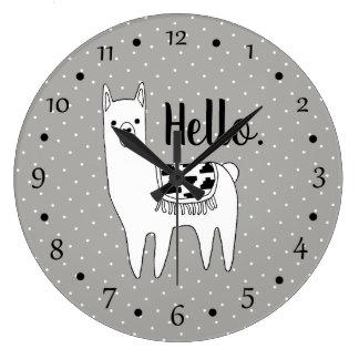 Grande Horloge Ronde Croquis à la mode de lama et points blancs bonjour