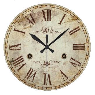 Grande Horloge Ronde Cru décoratif unique de chiffre romain rustique