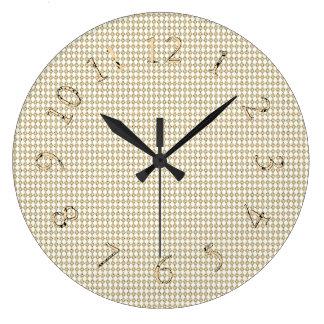 Grande Horloge Ronde Cru-Sépia--Décor-Or-Diamant-Horloges