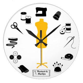 Grande Horloge Ronde Customisez l'étiquette cousent juste