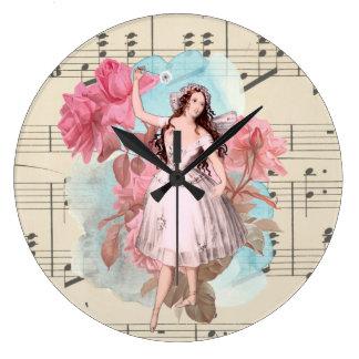 Grande Horloge Ronde Danseuse féerique vintage florale de ballerine de