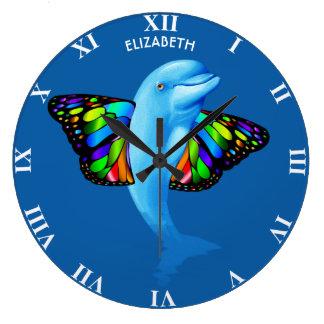 Grande Horloge Ronde Dauphin mignon psychédélique avec le cool
