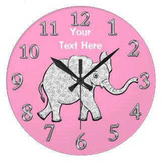 Grande Horloge Ronde Décor personnalisé de crèche d'horloge d'éléphant