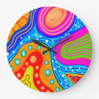 Grande Horloge Ronde Découpe colorée multi d'art d'abstraction