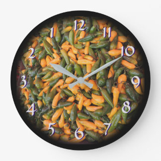Grande Horloge Ronde Des poivrons du Chili - tournez de retour le temps