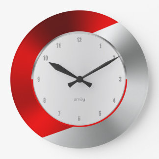 Grande Horloge Ronde Dessin géométrique métallique moderne rouge et