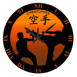 Grande Horloge Ronde Deux combattants de karaté avec Soleil Levant