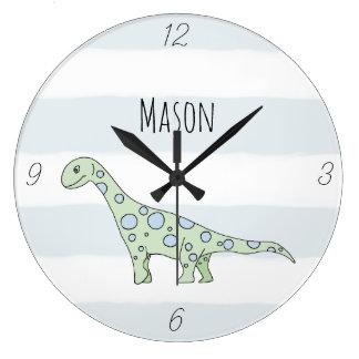 Grande Horloge Ronde Dinosaure de griffonnage de bébé avec la crèche