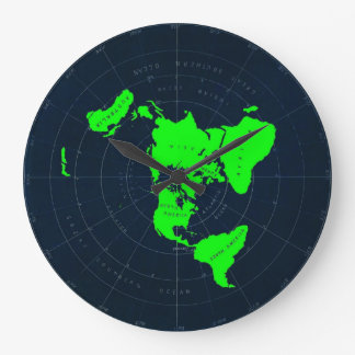 Grande Horloge Ronde Disque plat de carte de la terre
