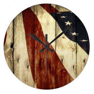 Grande Horloge Ronde Drapeau américain en bois de grange americana