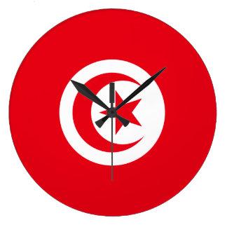 Grande Horloge Ronde Drapeau de la Tunisie