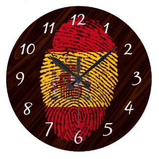 Grande Horloge Ronde Drapeau d'empreinte digitale de contact d'Espagnol