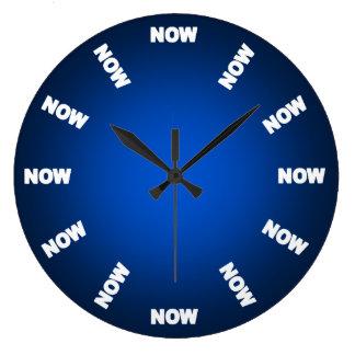 Grande Horloge Ronde Drôle synchronisez maintenant (le bleu)