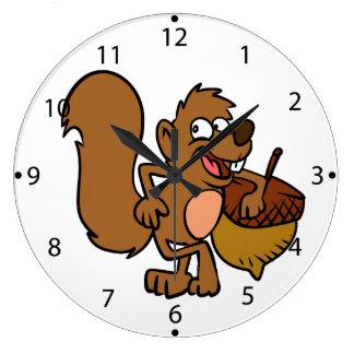 Grande Horloge Ronde Écureuil de bande dessinée avec l'écrou