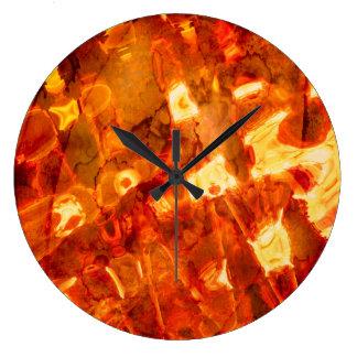 Grande Horloge Ronde Effet de la lumière orange de motif abstrait