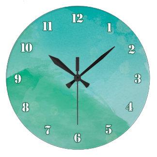 Grande Horloge Ronde Effet vert-bleu renversant d'aquarelle