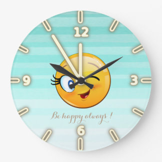 Grande Horloge Ronde Emoji souriant clignotant adorable Visage-Est