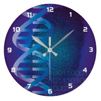 Grande Horloge Ronde Empreinte digitale d'ADN de CSI