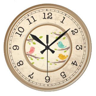 Grande Horloge Ronde Enfants mignons d'oiseaux de bande dessinée