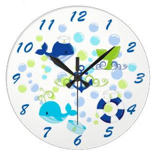 Grande Horloge Ronde Enfants nautiques de bleu marine de vert de chaux