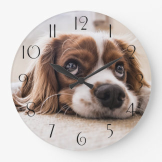 Grande Horloge Ronde Épagneul de roi Charles cavalier