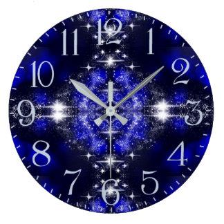 Grande Horloge Ronde Étincelle de nuit d'hiver de conte de fées