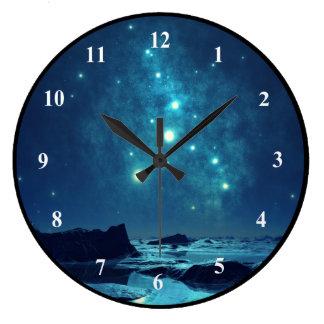 Grande Horloge Ronde Étoiles brillantes dans le paysage de nord de