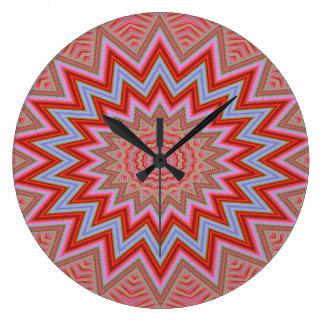 Grande Horloge Ronde Étoiles concentriques rouges et roses d'arrière -