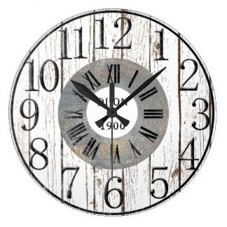 Grande Horloge Ronde Faux en bois et en métal