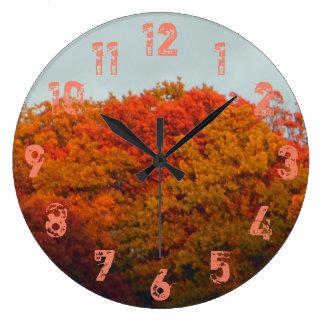 Grande Horloge Ronde Feuillage d'automne