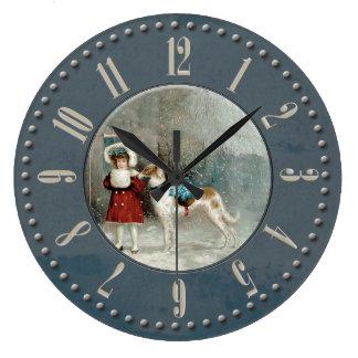 Grande Horloge Ronde Fillette et barzoi sous la neige