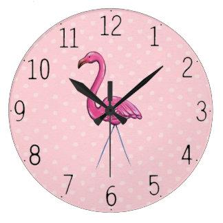 Grande Horloge Ronde Flamant assez rose sur l'horloge d'arrière - plan